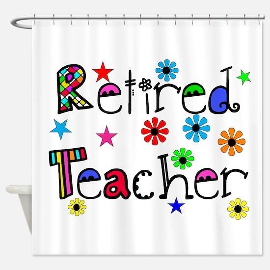 retired teacher stars flowers Shower Curtain