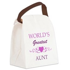 World's Greatest Aunt (purple) Canvas Lunch Bag