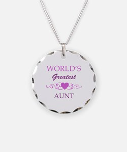 World's Greatest Aunt (purple) Necklace Circle Cha
