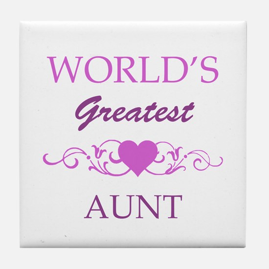 World's Greatest Aunt (purple) Tile Coaster