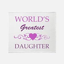 World's Greatest Daughter (purple) Throw Blanket