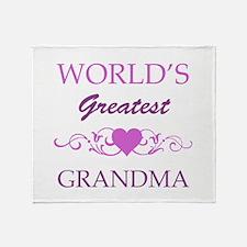 World's Greatest Grandma (purple) Throw Blanket