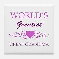 World's Greatest Great Grandma (purple) Tile Coast