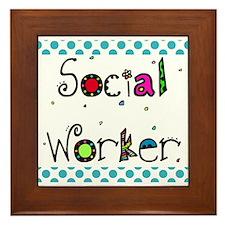 social worker POLKA DOTS Framed Tile