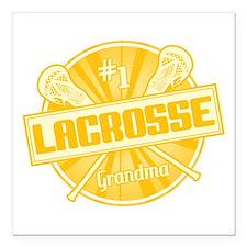 "#1 Lacrosse Grandma Square Car Magnet 3"" x 3"""