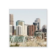 "Denver Skyline Oil Painting Square Sticker 3"" x 3"""