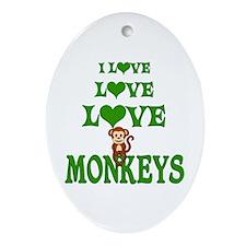 Love Love Monkeys Ornament (Oval)