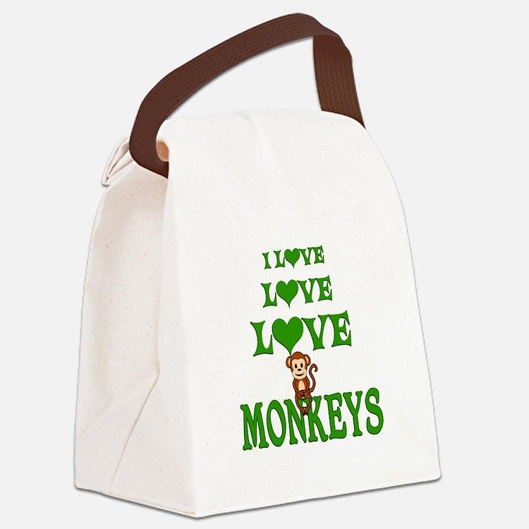 Love Love Monkeys Canvas Lunch Bag