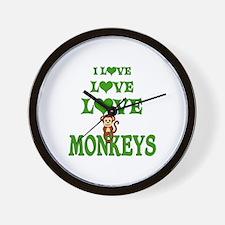 Love Love Monkeys Wall Clock