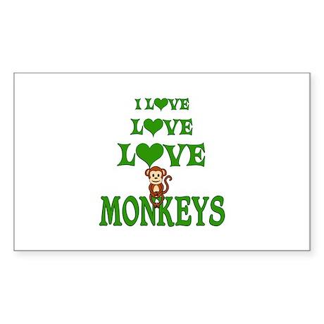 Love Love Monkeys Sticker (Rectangle)
