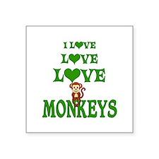 "Love Love Monkeys Square Sticker 3"" x 3"""