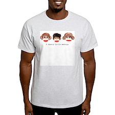 Sock Monkey Trio Ash Grey T-Shirt