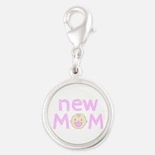 New Mom To Girl Silver Round Charm