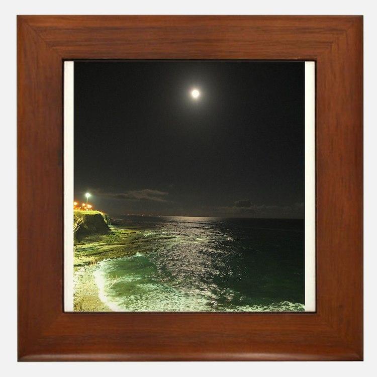 Super Moon Beach Framed Tile