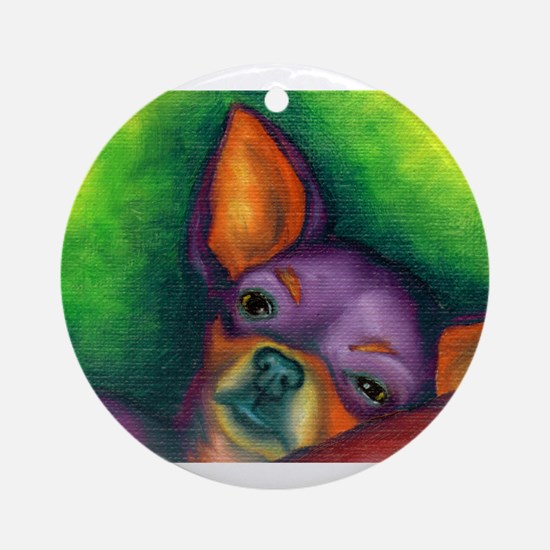 Lazy Chihuahua Ornament (Round)