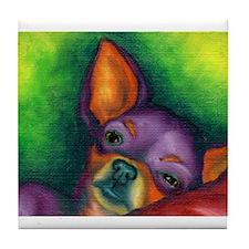 Lazy Chihuahua Tile Coaster