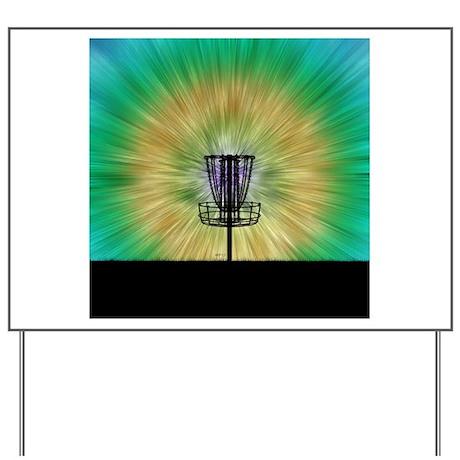 Tie Dye Disc Golf Basket Yard Sign