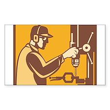 Factory Worker Operator With Drill Press Retro Sti