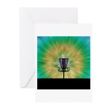 Tie Dye Disc Golf Basket Greeting Cards (Pk of 10)
