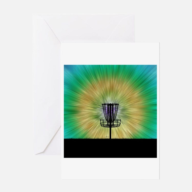 Tie Dye Disc Golf Basket Greeting Card