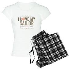 I Love my Sailor Proud Navy Wife Pajamas