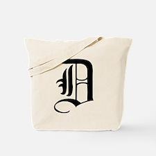 Gothic Initial D Tote Bag