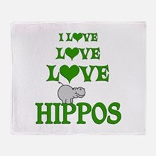 Love Love Hippos Throw Blanket