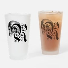 Gothic Skull Initial R Drinking Glass
