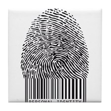 personal identity, fingerprint with bar code Tile