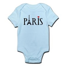 Paris with Eiffel tower and red heart Infant Bodys