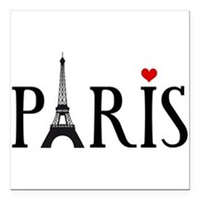 Paris with Eiffel tower and red heart Square Car M