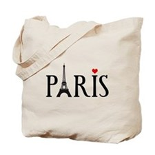 Paris with Eiffel tower and red heart Tote Bag