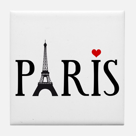 Paris with Eiffel tower and red heart Tile Coaster