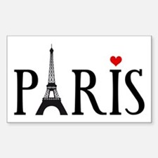 Paris with Eiffel tower and red heart Decal