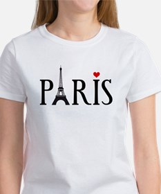 Paris with Eiffel tower and red heart Women's T-Sh