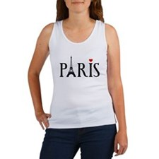 Paris with Eiffel tower and red heart Women's Tank