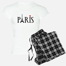 Paris with Eiffel tower and red heart Pajamas