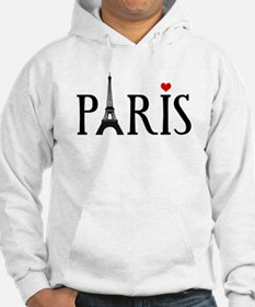 Paris with Eiffel tower and red heart Hoodie