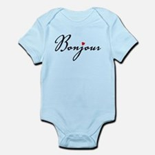 Bonjour with red heart Body Suit