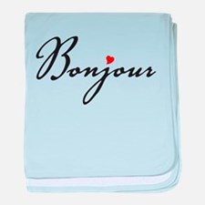 Bonjour with red heart baby blanket