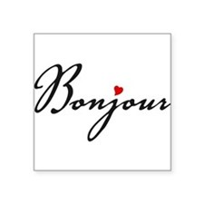 Bonjour with red heart Sticker