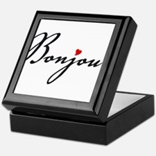 Bonjour with red heart Keepsake Box