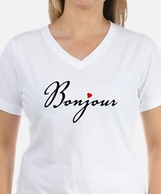Bonjour with red heart T-Shirt