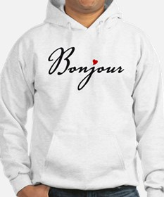 Bonjour with red heart Hoodie