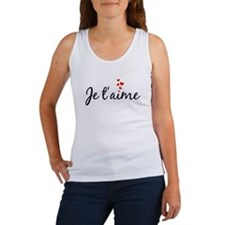 Je t'aime, French word art with red hearts Tank To
