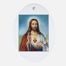 Sacred Heart of Jesus Oval Ornament