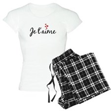 Je t'aime, French word art with red hearts Pajamas