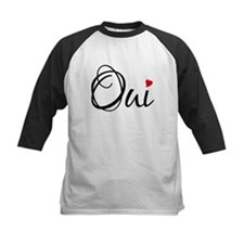 Oui, French word art with red heart Baseball Jerse