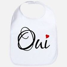 Oui, French word art with red heart Bib