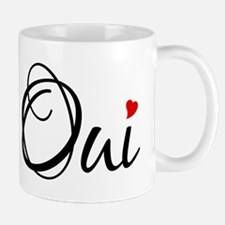 Oui, French word art with red heart Mug